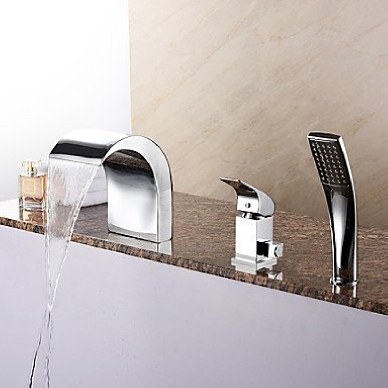YI KUI Bad Waschbecken Wasserhhne Neue Ankunft Wanne Wasserfall Handbrause für Chrome Badewanne Wasserhahn mit Keramik entil 1-Handle-3-Lcher enthalten
