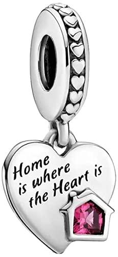 LaMenars Maman et Fille Anutie Femme Famille Charms fit Pandora Bracelets Argent Perles pour Colliers Pendentif pour la Saint Valentin Fête des Mères Cadeau d'anniversaire (Maison est chaleureuse)