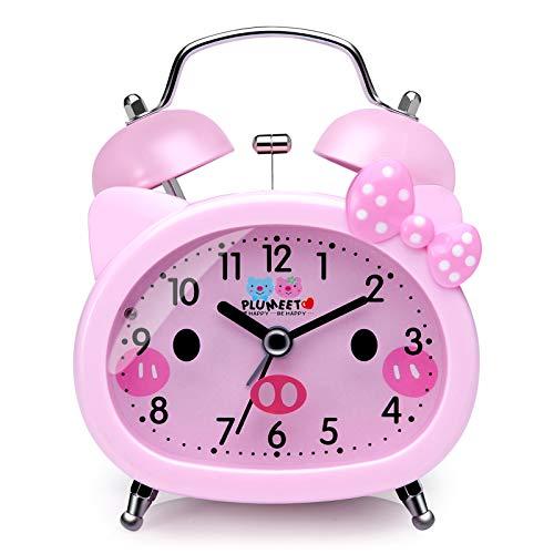 Plumeet Sveglia per Bambini Allarme a Doppia Campana, Sveglia/Allarme al Quarzo Silenziosa, Senza Ticchettio, Stile Cartoon, per Bambini/Bambine, Funziona a Batteria (Rosa)