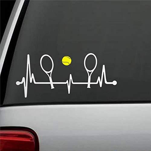 DONL9BAUER Aufkleber Tennisschläger mit gelbem Tennisball Herzschlag Lifeline Auto Fenster Aufkleber Stoßstange Aufkleber für Auto LKW Laptop SUV Van Wanddekoration
