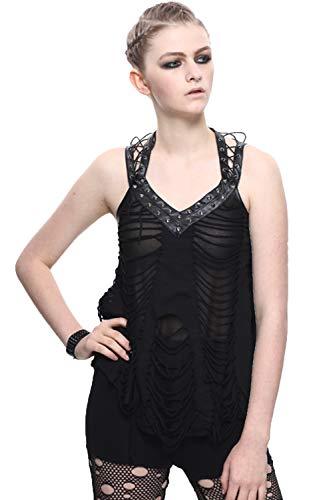 Devil Fashion Sommer Frauen Gothic Baumwollschlinge ?rmelloses Tank Top Punk Lose Weste Casual Tank Tops T-Shirt, L