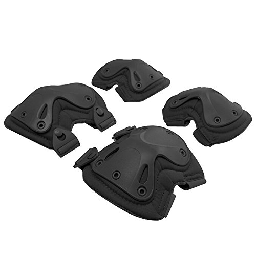 T-Juan MM Pack of 4 Tactical Combat Knee & Elbow Protective Pads Guard Black (2Knee Pad and 2Elbow Pad)