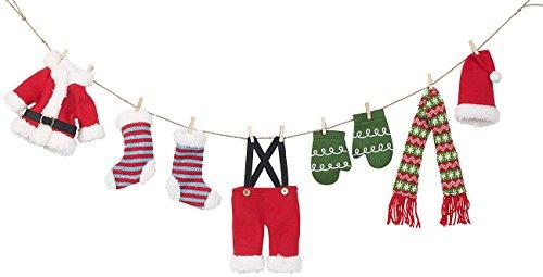 infactory Weihnachtsgirlanden: Weihnachts-Deko-Girlande Weihnachtsmann-Wäscheleine, 140 cm (Weihnachtsmanngirlande)