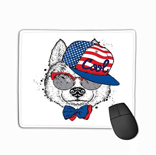 Mousepad rutschfester Gummi Personalisierte einzigartige Gaming-Mauspad Schöne Hundekappe Brille Krawatte Postkarte Poster Druck Kleidung Reinrassiger Welpe Husky Ideal