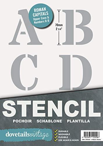Plantillas Letras Stencil - Plantillas del Alfabeto – 7 cm de altura – Alphabet y Números 0-9, Mayúsculas Roman – en 6 hojas de 295 x 200mm