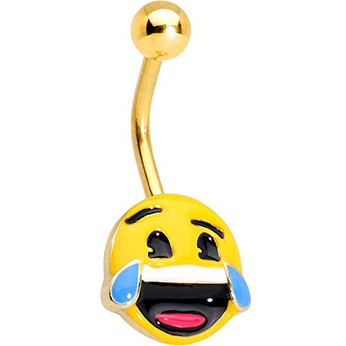 Officially Licensed Laughing emoji Anodized Steel Belly Ring