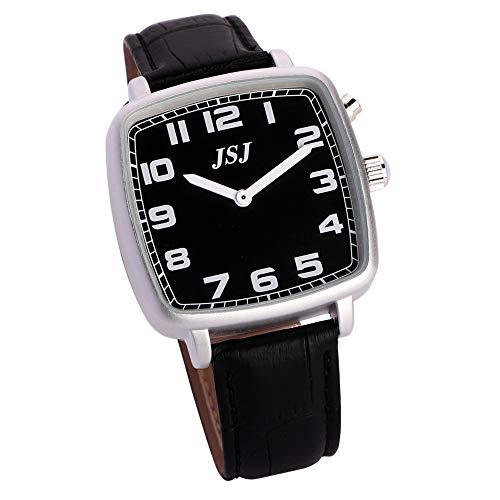 Reloj de pulsera cuadrado con función de despertador, función de voz, hora y fecha, esfera negra, correa de piel negra TGSW-1713G