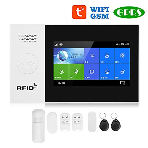 Sistema de Alarma de Seguridad Antirrobo Con Pantalla Táctil de 4.3 Pulgadas, Alarma Antirrobo Inalámbrica WiFi + GSM + GPRS, Sistema Inteligente de Control Remoto de Aplicaciones(EU)
