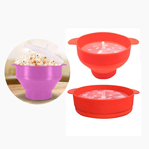 Purchase Popcorn Bucket with Handles, Microwaveable Popcorn Maker Foldable Popcorn Bowl, Silicone Po...
