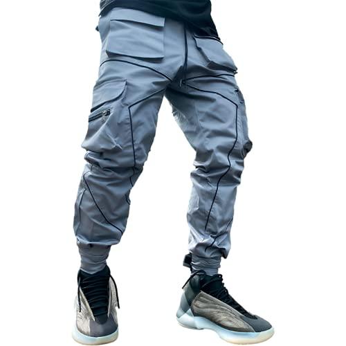 Huntrly Monos para Hombre Primavera y otoño Pantalones Casuales con Varios Bolsillos Sueltos de Pierna Recta Diseño Personalizado Pantalones Casuales para Correr 3XL