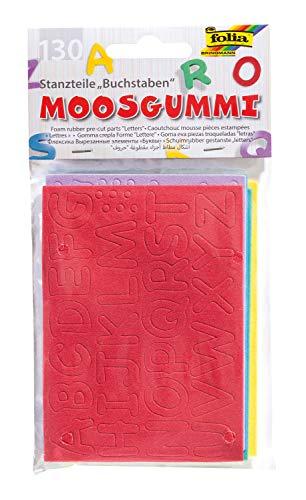 folia 2353 - Moosgummi Stanzteile, Buchstaben, 130 Stück, farbig sortiert, ca. 1,5 cm groß, ideal für Scrapbooking, Kartengestaltung und kreative Bastelarbeiten