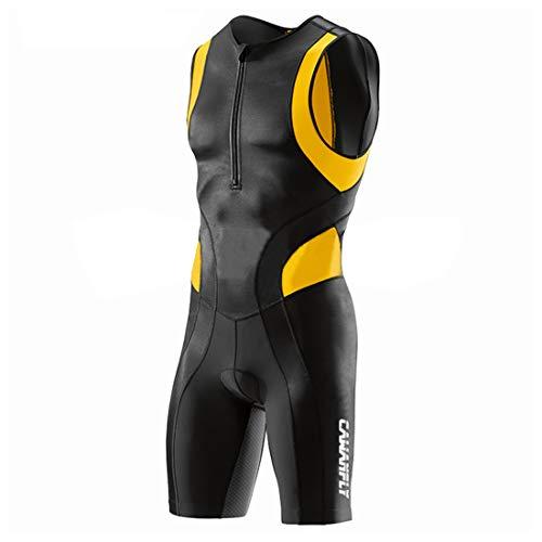 GWELL Herren Triathlonanzug Triathlon Trisuit Kompression Einteiler Duathlon Laufen Schwimmen Fahrradfahren Wettkampfanzug Gelb L