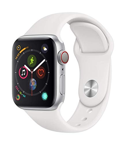Apple Watch Series 4 (GPS + Cellular) cassa 40 mm in alluminio color argento e cinturino Sport bianco