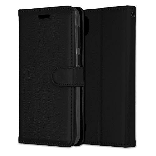 Yiizy Handyhüllen für ZTE Blade A530 Ledertasche, Mode Stil Lederhülle Brieftasche Schutzhülle für ZTE Blade A530 hülle Silikon Cover mit Magnetverschluss Kartenfächer (Schwarz)