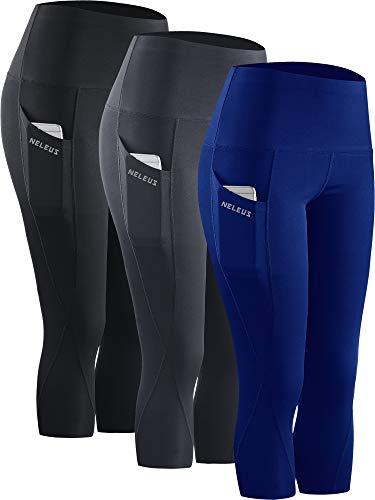 Neleus 3 Pack Workout Running Capris Tummy Control High Waist Yoga Leggings Yoga Pants,9027,Black,Grey,Blue,M,EU L
