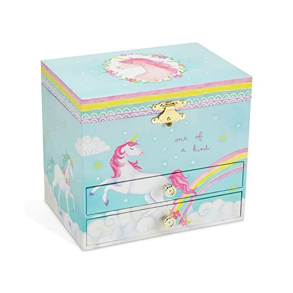 Jewelkeeper Unicorn and Rainbow Musical Jewelry Box with 2 Pullout Drawers, The Unicorn Tune 7