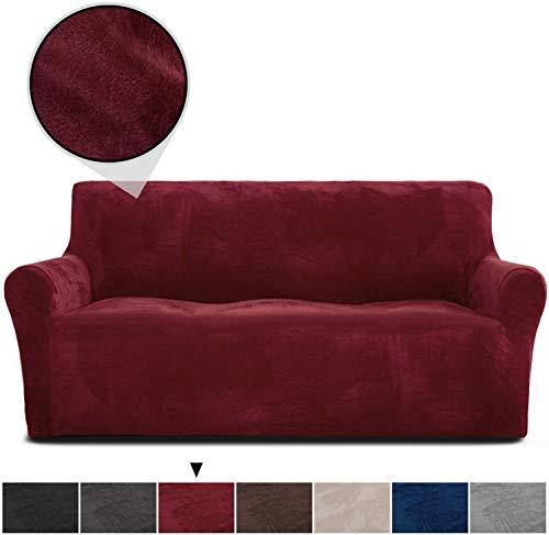 Rose Home Fashion Sofabezug für 3 Sitzer, 1 Stück Elastischer Sofaüberwurf Samt-Optisch, Couch Überzug, Sofa Überzug, Geeignet für Sofa mit Einer Länge von 173-216 cm, Weinrot