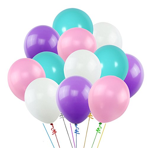 K KUMEED 100PCS Unicorn Balloons, White Purple Pink Blue Assorted Latex Balloons for Unicorn Mermaid Wedding Baby Shower Birthday Party Decorations, 2 Rolls of Ribbon
