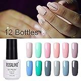 Rasalind - Esmalte de uñas de gel de color nude, secado con luz UV LED, para manicura, pedicura, salón, 12 unidades, 7 ml