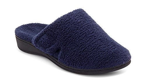 Vionic Women's Indulge Gemma Slipper - Ladies Adjustable Slippers with Concealed Orthotic Support Navy 8 Medium US