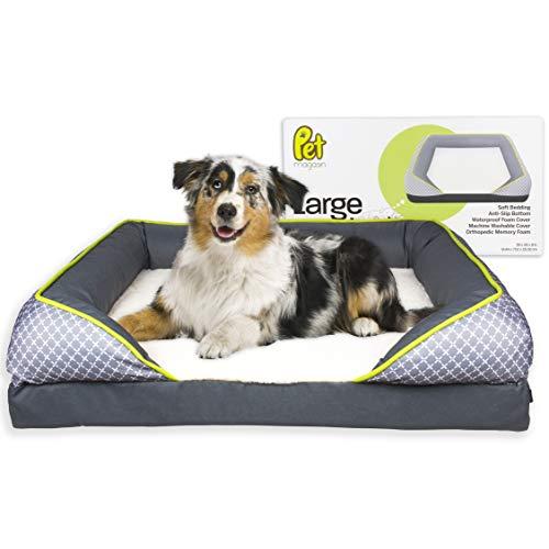 PET MAGASIN Großes orthopädisches Hundebett aus Memory-Schaum mit herausnehmbarem, maschinenwaschbarem, rutschfestem Bezug und wasserdichtem Innenbezug für Vorfallschutz