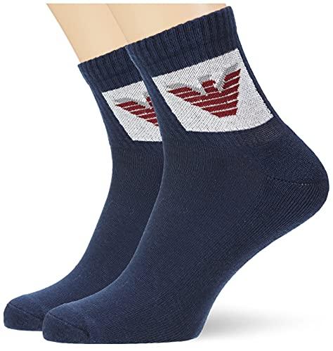 Emporio Armani Underwear Sporty 2 Paquetes de Calcetines en el Zapato, Navyblue, TU (Pack de 3) de los Hombres