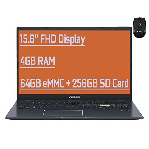 "Flagship Asus Vivobook L510 Ultra Thin Business Laptop 15.6"" FHD Display Intel Celeron N4020 4GB RAM 64GB eMMC + 256GB SD Card Backlit Fingerprint USB-C HDMI Win10 + iCarp Wireless Mouse"