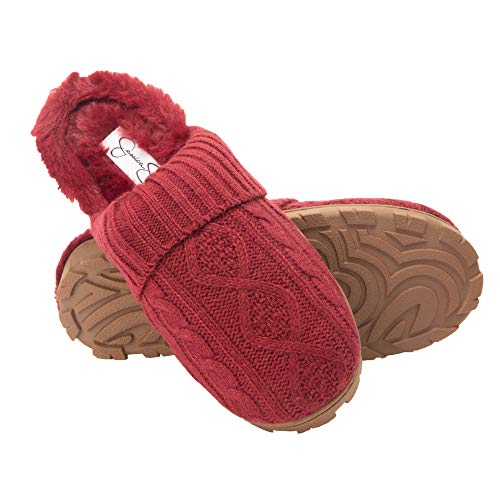 Jessica Simpson Women's Soft Cable Slippers with Indoor/Outdoor Sole, Burgundy Knit, Small