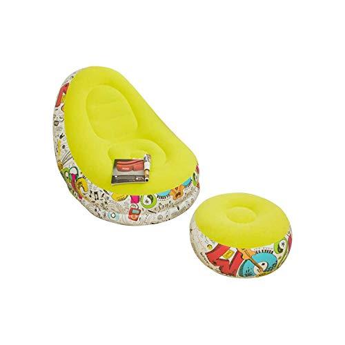 BANGSUN Sillón hinchable para familia con cojín de pie, diseño de graffiti, color amarillo