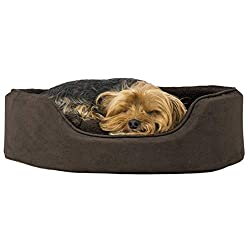 professional Furhaven Dog Bed-Terry's round oval sofa made of fleece and suede chaise longues …