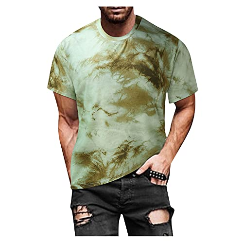 YANFANG Blusa Superior De Camiseta Manga Corta Estampada Informal Ajustada Verano para Hombre,Print tee Hombre, Hombre PoliéSter,2-Verde,XXL