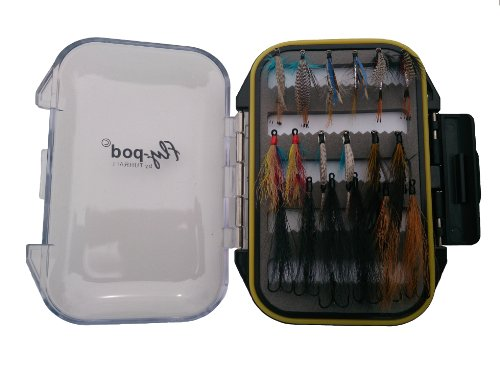 Turrall Fly-Pod Fishing Fly Selection - Mosca seca de pesca con mosca, color negro