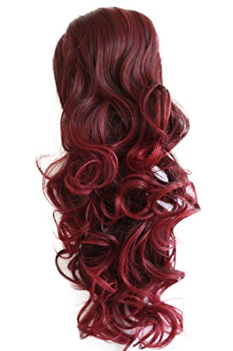 """PRTTYSHOP Hair Piece Pony Tail Extension Draw String Voluminous Curly Heat-Resisting 22"""" red mix # 2T113A PH28"""