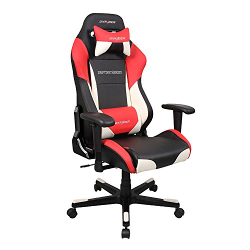 DXRacer DF61/NWR Black White Red Drift Series Racing Bucket Seat Office Chair Gaming Ergonomic with Lumbar Support