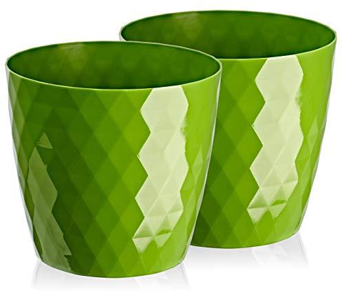 2 macetas de plástico brillantes y ligeras, decorativas, modernas y redondas, para interiores, 20 cm, color verde