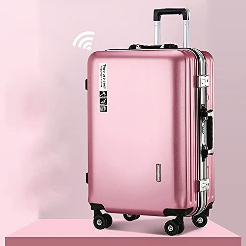 SGCDKSP Bagagli universali delle Ruote Uomini e Donne Bagagli Valigia per Valigia Password Caso di Check-in - Stile antifurto,Rosa,22 Inches