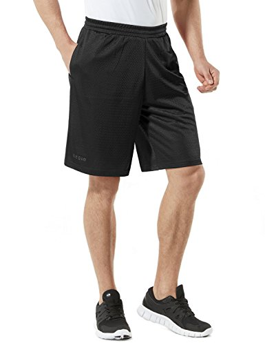 Tesla TM-MBS02-BLK_Medium Men's Cool Mesh Basketball Shorts Smooth HyperDri with Pockets MBS02