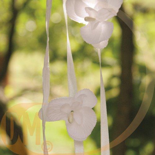 Fleur orchidée sur tige ( lot de 6 fleurs )-blanc