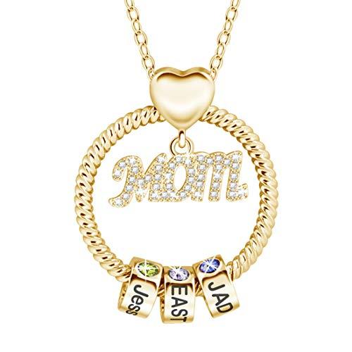 Collar Infinito Personalizado Para Mamá Con 1-8 Nombre Collar Familiar De Piedra De Nacimiento Collar Único Para El Día De La Madre Para Mujer Joyería De Aniversario De Cumpleaños(Oro-14')