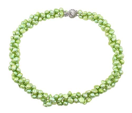 TreasureBay - Collana di perle d'acqua dolce barocche naturali da 6 mm, colore: Verde