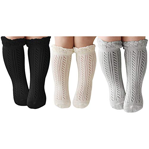 ACTLATI 3 Pairs Baby Girls Boys Knee High Socks Cotton Newborn Knit Stockings for 0-24 Months Infants Toddlers