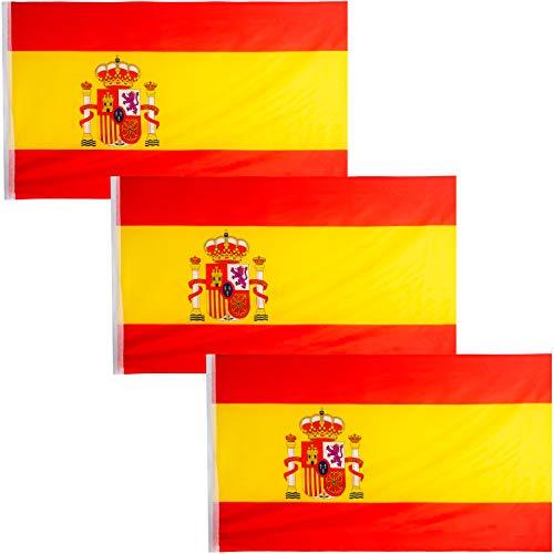 JEVX Banderas de España 90x60cm 3 Unidades para Colgar en Mastil Bandera Española con Escudo Nacional para Uso Exterior e Interior Bordes Reforzados