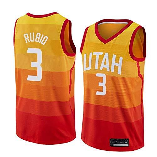 Fans Jersey Unisex Hombre NBA Utah Jazz 3 Ricky Rubio Ropa De Baloncesto Clásica Cómodas Camisetas Deportivas Transpirables,Red-L