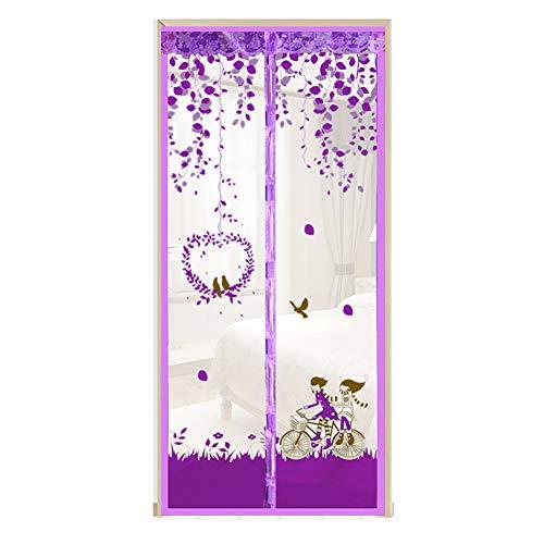 Magnetische Hordeur Insectenbescherming Magnetisch Vliegengordijn Horren Automatisch Sluiten Insectenbescherming voor Balkondeur Woonkamer Patio Deur Lijmmontage,Purple,95 x 210CM
