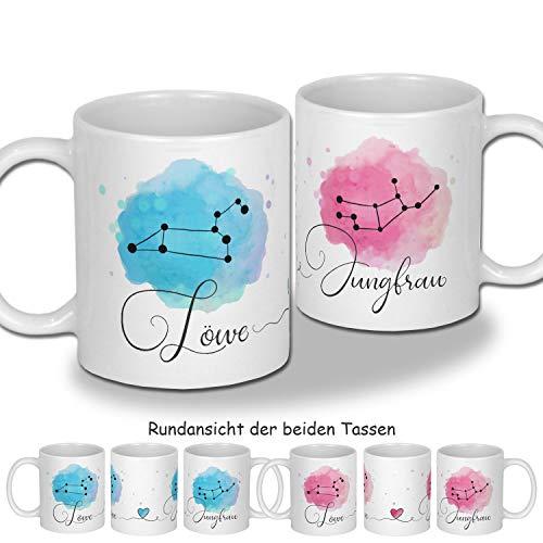 My Sweetheart® Sternzeichen Geschenke für Paare Gastgeschenke Hochzeit Sternbilder Tassenset personalisierte Tasse