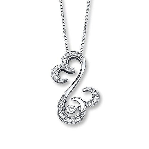 Valentine's Day Love Gift Open Hearts Rhythm 1/10 ct tw Diamonds Sterling Silver Pendant Necklace