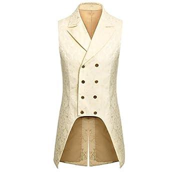 Jila Adult Mens Double Breasted Gothic Steampunk Costume Tailcoat Vest Victorian VTG Brocade Waistcoat  Medium Beige