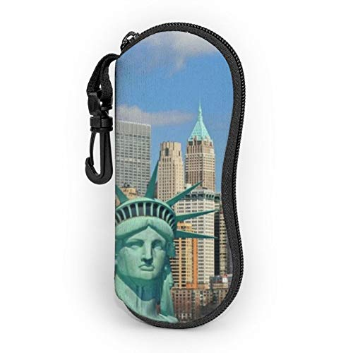 Statue Of Liberty In Nyc Eyeglass Case for Women Men Ultra Light Neoprene Sunglasses Soft Case with Carabiner Maine