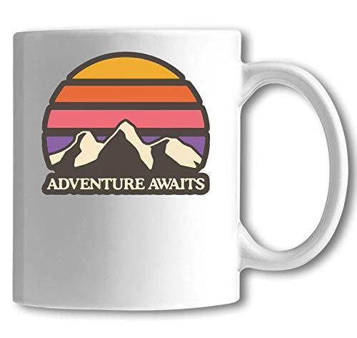 Iprints Avontuur wacht minimalistische berg zonsondergang Graphi wit keramische thee koffie mok