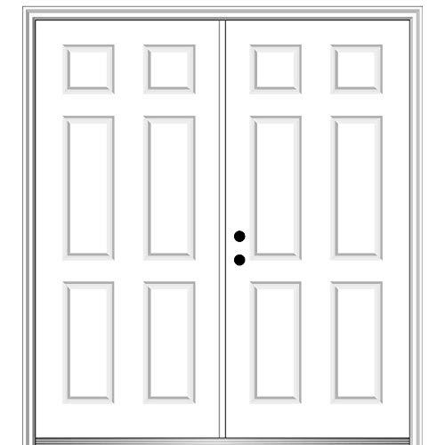 "National Door Company, Exterior Double Door, Steel, 60"" x 80"", 6-Panel, No Glass Classic 6 Panel Collection, Right-Hand Inswing"